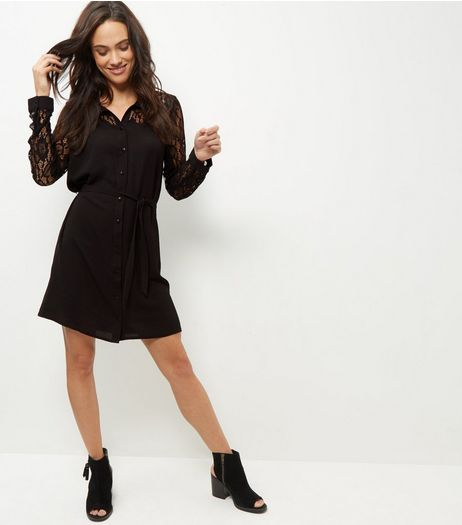 Cameo Rose Black Lace Shirt Dress  | New Look