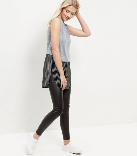 Cameo Rose Black 2 in 1 Pinstripe Top | New Look