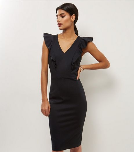 Black V Neck Frill Trim Pencil Midi Dress | New Look