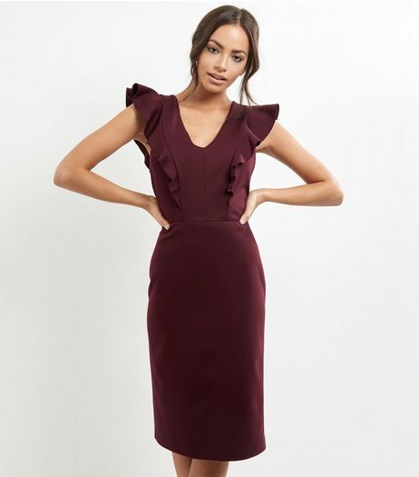 Burgundy V Neck Frill Trim Pencil Dress | New Look