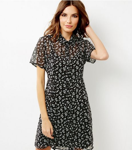 Black Floral Print Tie Back Shirt Dress | New Look