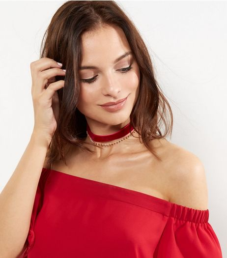 Burgundy Velvet Diamante Layered Choker | New Look