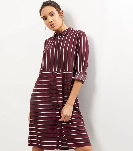 Red Contrast Stripe Shirt Dress | New Look
