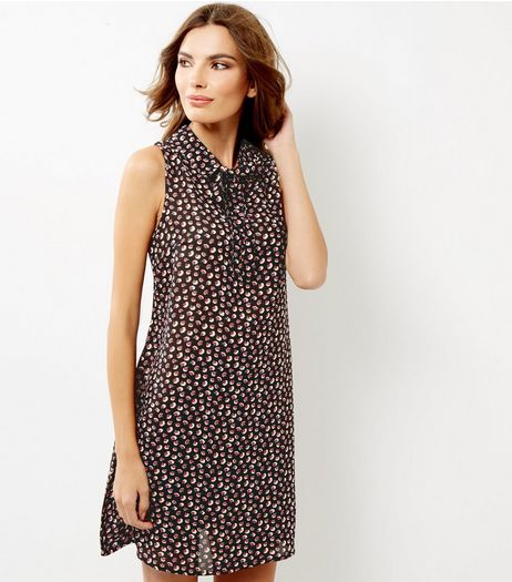 Black Ditsy Floral Print Tie Neck Swing Dress | New Look