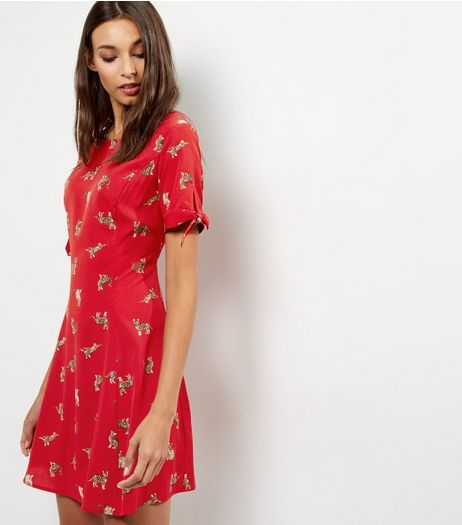 Red Cat Print Tie Sleeve Skater Dress | New Look