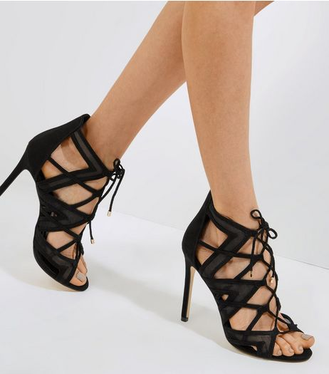 Black Mesh Ghillie Heels | New Look