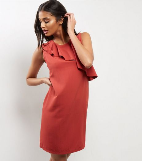 Light Brown Asymmetric Frill Shift Dress | New Look