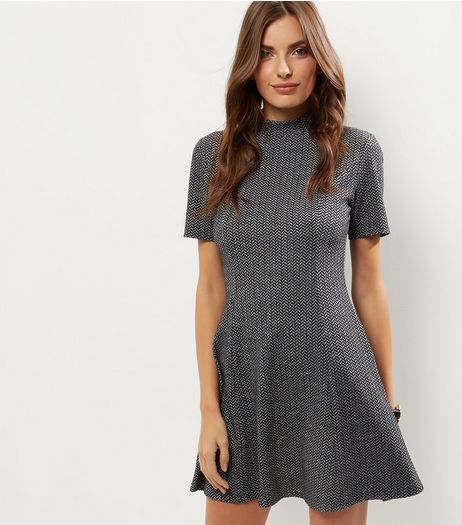 Dark Grey Jacquard Funnel Neck Skater Dress | New Look