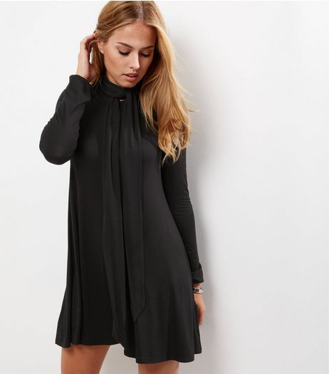 Black Tie Neck Long Sleeve Tunic Dress | New Look