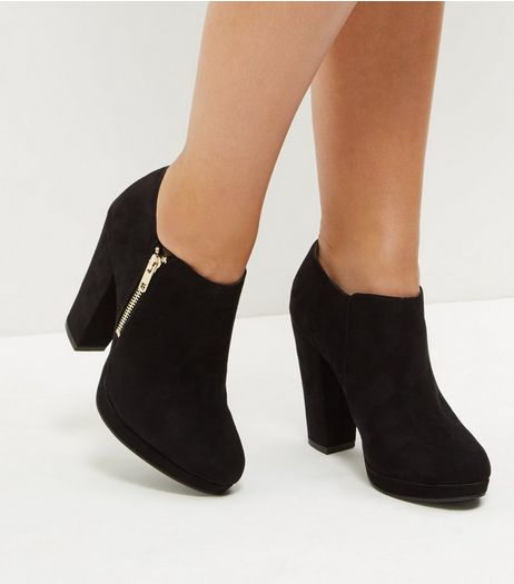 Black Suedette Zip Side Shoe Boots | New Look