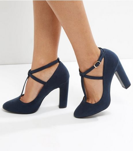 Navy Suedette T-Bar Block Heels | New Look