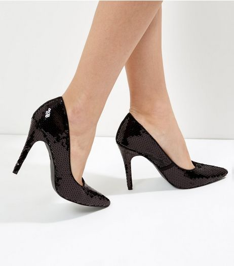 Black Sequin Pointed Court Shoes | New Look