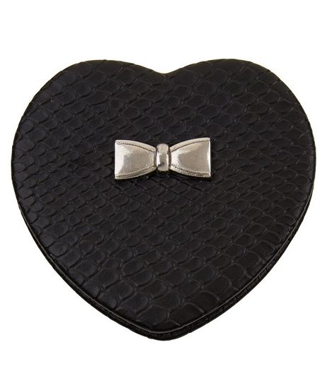 Black Heart Snakeskin Compact Mirror | New Look