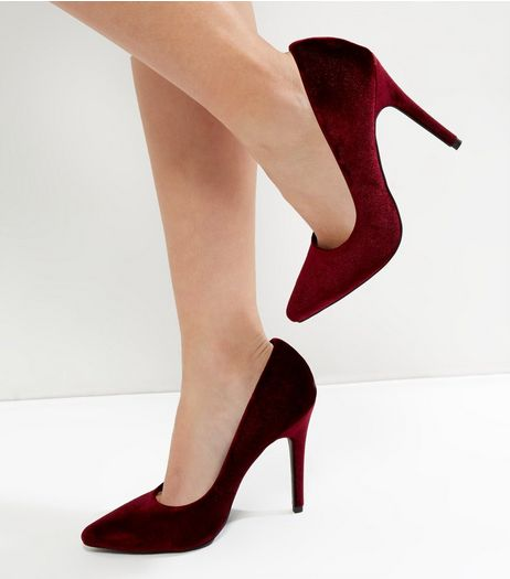 Dark Red Velvet Pointed Court Shoes | New Look