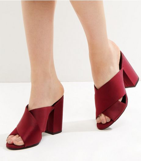 Dark Red Sateen Cross Strap Heeled Mules | New Look