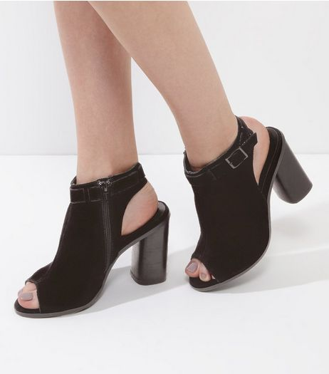Black Suede Peep Toe Sling Back Block Heels | New Look