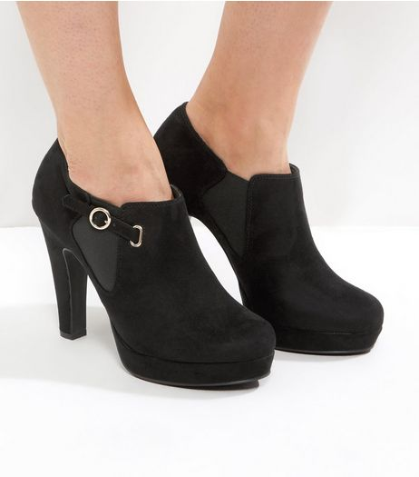 Black Comfort Suedette Silver Buckle Platform Shoe Boots | New Look