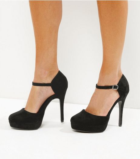 Black Suedette Ankle Strap Platform Heels | New Look