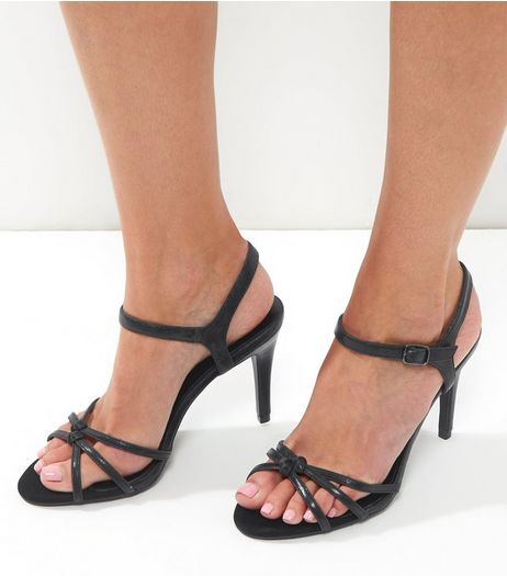 Black Leather-Look Knot Front Ankle Strap Heels | New Look