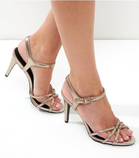 Gold Leather-Look Knot Front Ankle Strap Heels   | New Look