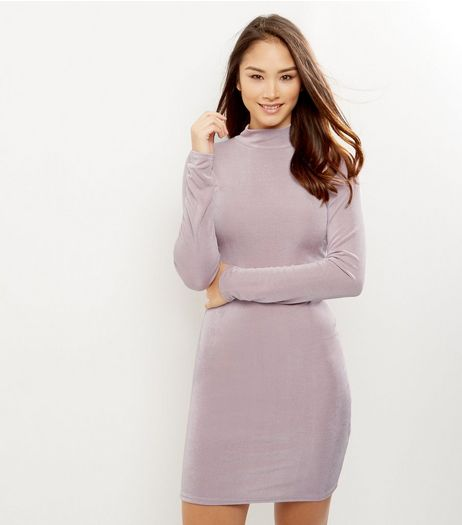 Mid Pink Funnel Neck Bodycon Dress | New Look