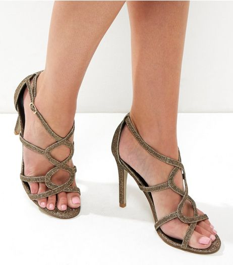 Gold Glitter Twist Front Heeled Sandals | New Look
