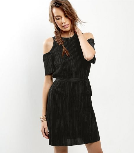 Black Pleated Cold Shoulder Tie Waist Dress  | New Look