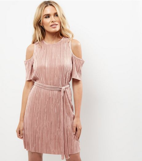 Mid Pink Pleated Cold Shoulder Tie Waist Dress  | New Look