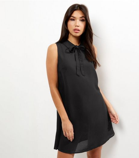 Black Tie Neck Sleeveless Swing Dress | New Look