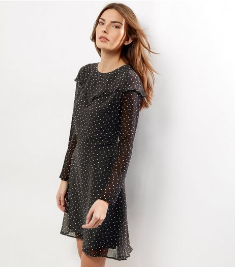 Black Yoke Frill Trim Long Sleeve Skater Dress | New Look