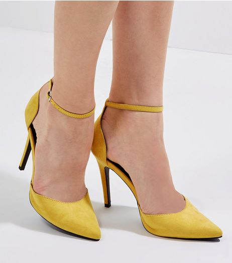 Yellow Suedette Ankle Strap Court Shoes | New Look