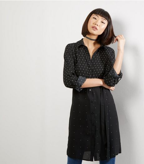 Black Mix Polka Dot Shirt Dress | New Look