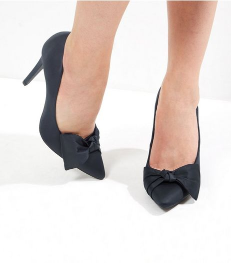 Navy Sateen Bow Front Pointed Court Shoes | New Look