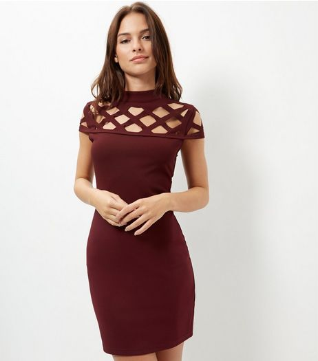 Parisian Burgundy Lattice Bodycon Dress | New Look