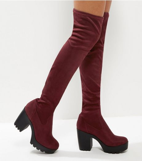 Dark Red Suedette Over The Knee Platform Boots | New Look