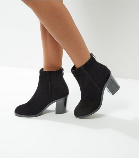 Black Suede Block Heel Ankle Boots | New Look