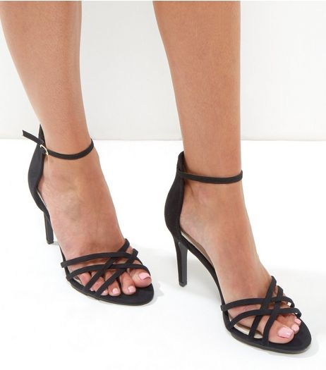 Black Comfort Suedette Cross Strap Heels | New Look