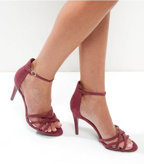 Dark Red Comfort Suedette Cross Strap Heels | New Look