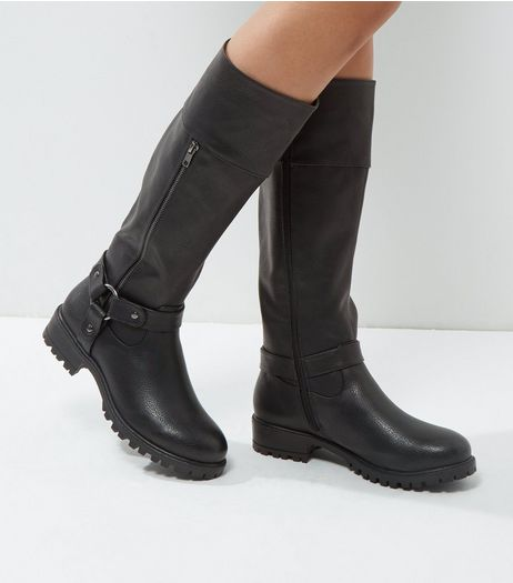 Black Knee High Biker Boots | New Look