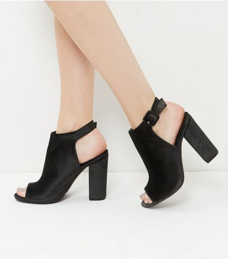 Black Velvet Peep Toe Sling Back Block Heels | New Look