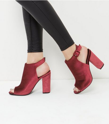 Dark Red Velvet Peep Toe Sling Back Block Heels  | New Look