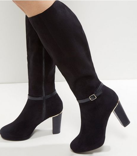 Black Suedette Snakeskin Trim Knee High Boots | New Look