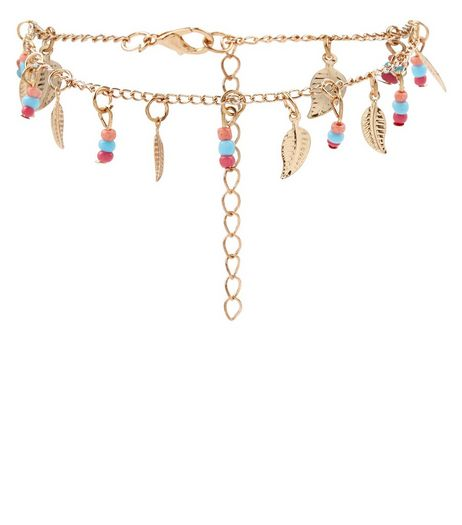 Gold Beaded Leaf Drop Anklet | New Look