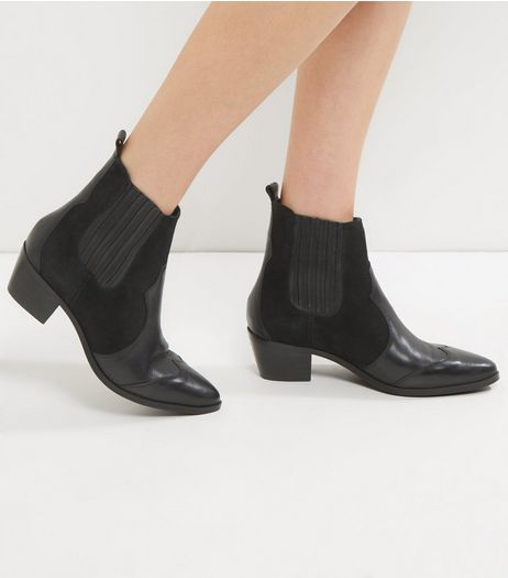 Black Leather Contrast Panel Western Boots | New Look