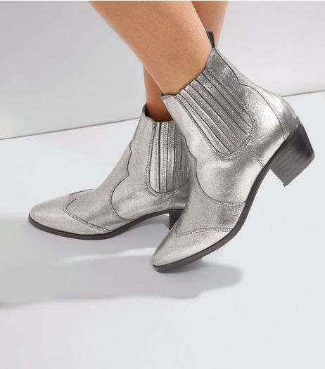 Silver Leather Metallic Western Boots | New Look