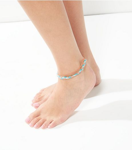 3 Pack Gold Coral And Blue Anklets | New Look