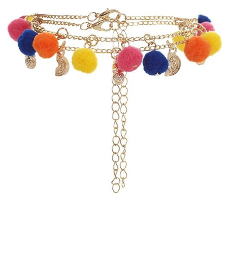 2 Pack Gold Pom Pom Anklets | New Look