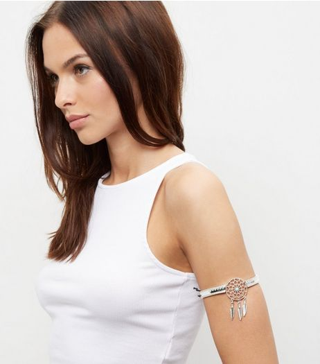 Silver Dreamcatcher Armcuff | New Look