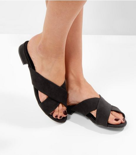 Black Suedette Cross Strap Mules | New Look