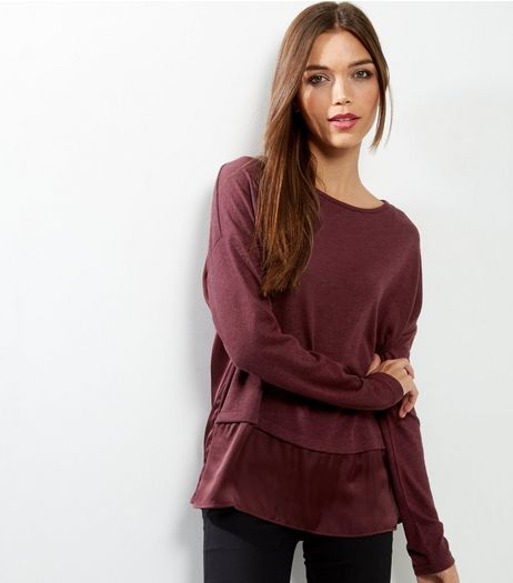 Burgundy Sateen Long Sleeve Contrast Top  | New Look